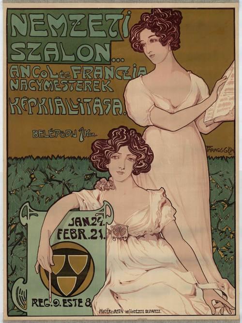 Faragó Géza szecessziós stílusú plakátjainak központi alakjai rendezvényekre, áruházakba csábító, szépséges nők voltak (1904) • Kép forrása: Wikimedia Commons