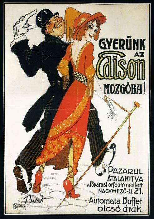 """Bíró Mihály grafikus, plakáttervező Edison-""""mozgót"""" népszerűsítő plakátja (1912)  • Kép forrása: pinterest.com"""