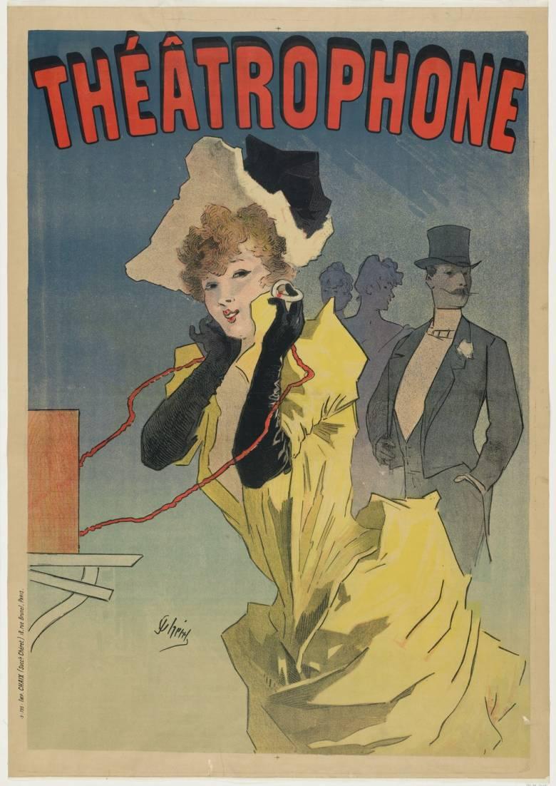 Jules Chéret Puskás Tivadar találmányát, a telefonhírmondót népszerűsítő plakátja (1896) • Kép forrása: moma.org