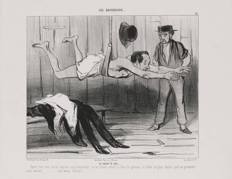 A Charivari (Macskajaj) című élclapban Daumier fürdőzőkről készített karikatúráinak egész sora jelent meg  • Úszólecke, 1839  • Kép forrása: szepmuveszeti.hu