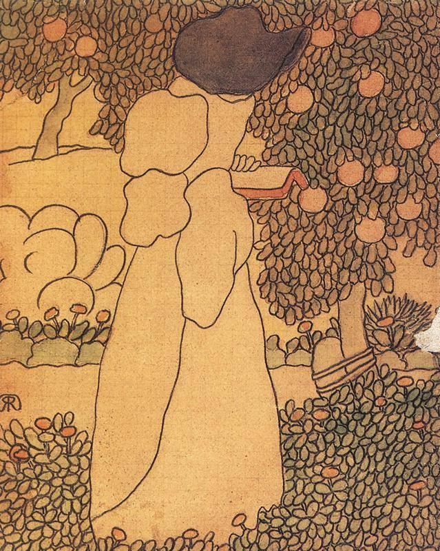 Rippl-Rónai József korai, szecessziós stílusú festménye a több változatban megfestett Olvasó nő • 1895 • Kép forrása: Wikipédia