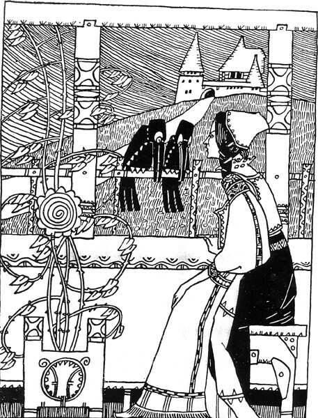 A jellegzetes magyar szecessziós stílust a népművészet motívumai is gazdagították • Kós Károly ballada-illusztrációja: Atila királról ének, 1909 • Kép forrása: elib.hu