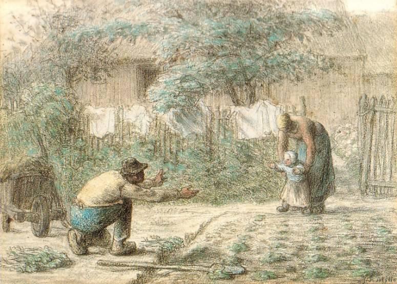 A falusi élet szeretettel ábrázolt, bensőséges, szép pillanatai Millet Az első lépések című festményén • 1858–1859 • Kép forrása: Wikimedia