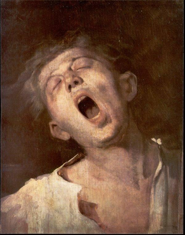 Munkácsy Mihály első realista stílusú képét a kora hajnalban felébresztett, álmosan nyújtózkodó, nagyot ásító inasgyerekről festette  • Ásító inas, tanulmány, 1868–1869 • Kép forrása: mek.oszk.hu
