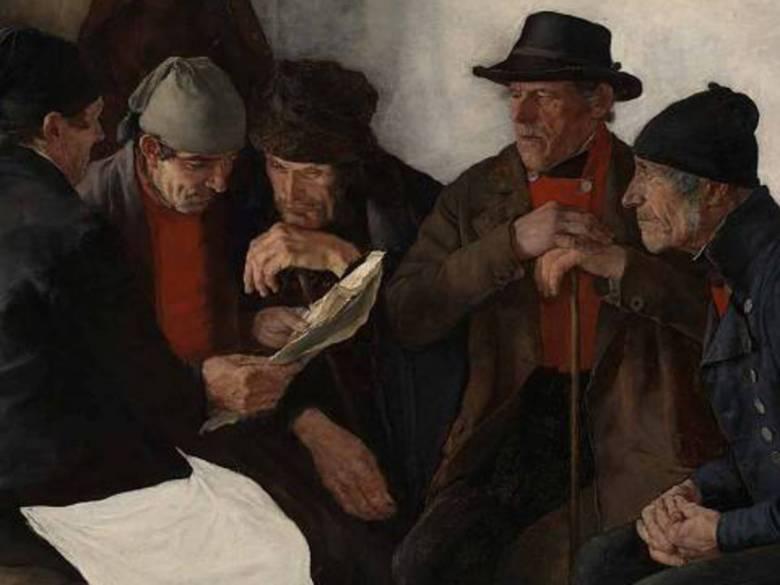 Újságot böngésző parasztok Wilhelm Leibl, a német realizmus kiemelkedő képviselőjének festményén • Falusi politikusok, 1877 • Kép forrása: wsimag.com