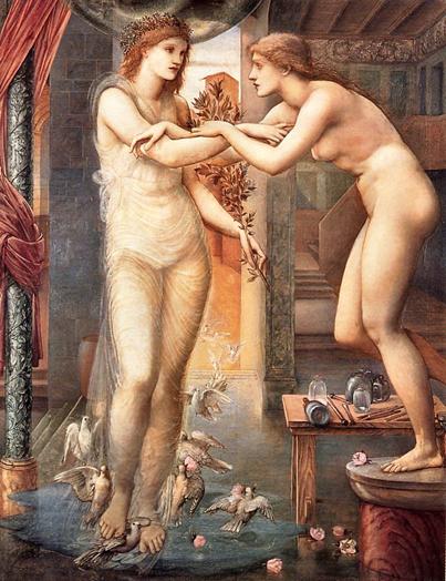 Edward Burne-Jones festményén a maga faragta márványszoborba beleszerető Pügmalión imáját meghallgató istennő a szobrot életre kelti • Aphrodité és Galathea, 1875–1878 • Kép forrása: medium.com