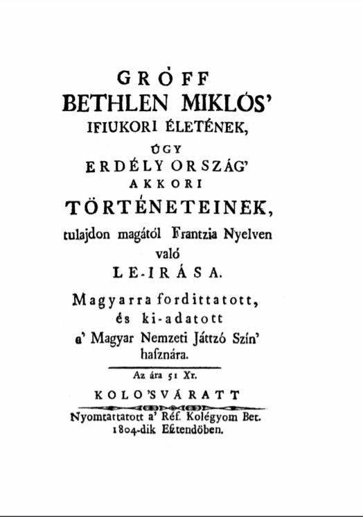 Az 1804-es kolozsvári magyar nyelvű kiadás címlapja • Forrás: real-r.mtak.hu