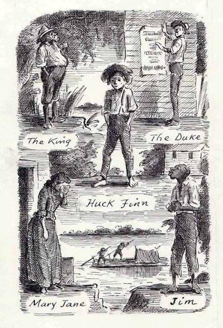 Edward Ardizzone Huckleberry Finn illusztrációja 1961-ből • forrás: theguardian.com